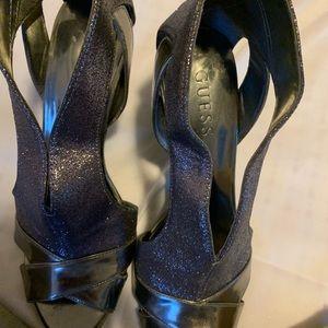 Guess Sliver  mauve sparkle heels